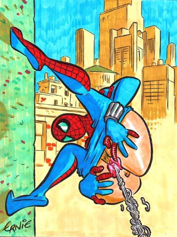 girl spiderman kiss and spider One punch man ancient king
